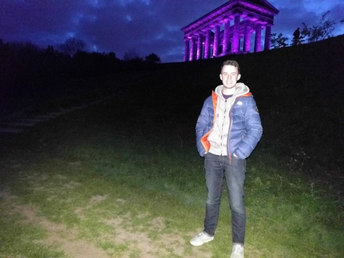 Standing in front of the Purple Penshaw Monument
